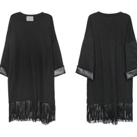 Black Cotton PU Patchwork Tassel Sleeve Loose Dress