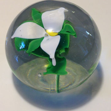 Art Glass Paperweight Murano Style White Orchid Floral Signed Office Gift Christmas Gift