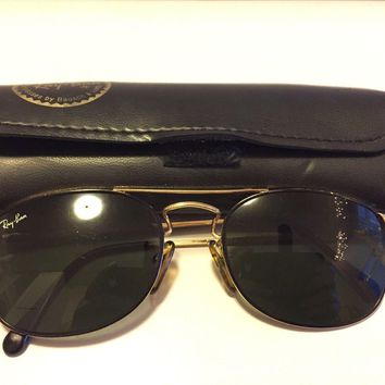 VINTAGE Ray-Ban RICKELL BAUSCH & LOMB GOLD 54/21 140 SUNGLASSES w/CASE