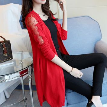 4550 - women's new shoulder embroidered lace long cardigan 50