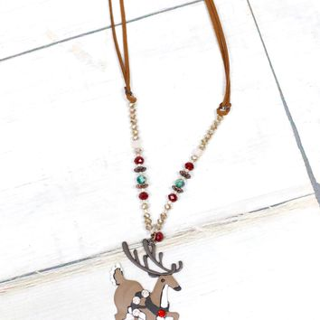 Prancing Reindeer Festive Beaded Necklace