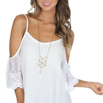 Lace Open Shoulder Top White