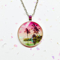 Tropical Beach Necklace, Rainbow Photograph, Glitter Jewelry, Hawaii Necklace, Palm Trees, Sunset Sky, Circle Necklace, Resin Accessories