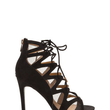 Event Ready Faux Suede Lace-Up Heels