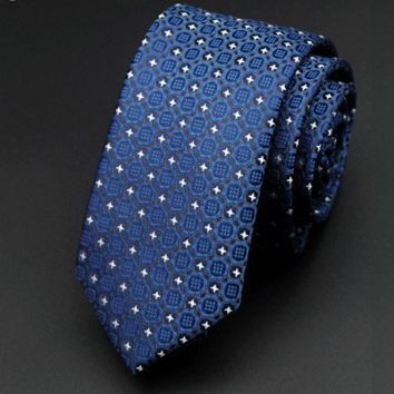 Blue Skinny Tie with Geometric White and Gray Designs