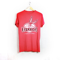 Vintage 90s LOONEY TUNES Bugs Bunny T-shirt - Faded Red - Distressed Destroyed Plastisol Print Graphic