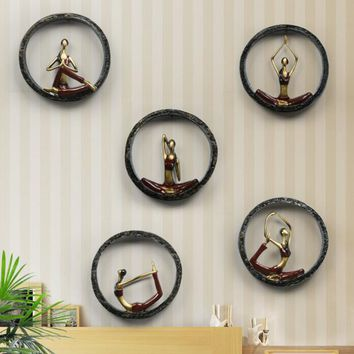 MODERN ABSTRACT YOGA STATUE 3D RESIN WALL HANGING