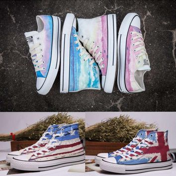 """Converse"" Fashion Canvas Flats Sneakers Sport Shoes High tops Flag printing"