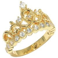 18K Yellow Gold Plated Sterling Silver Princess Crown Ring