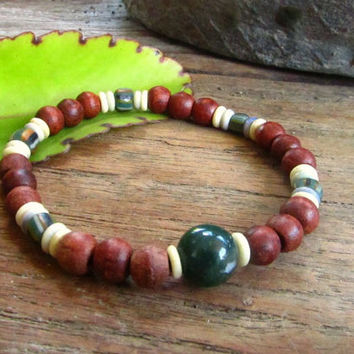 Indian Agate with Glass & Wooden Beads Stretchy Beaded Men's Bracelet / Mala Style Unisex Boho Surfer Hippie Festival Jewellery
