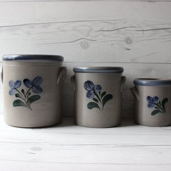 Vintage Set of 3 Rowe Pottery Works Stoneware Kitchen Utensil Canister Holder Jars with Blue Flowers | Rustic Country Farm House Style Decor