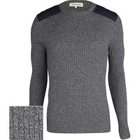 River Island MensGrey rib quilted shoulder patch sweater