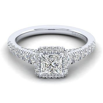 14K White Gold 1.43cttw Princess Cut Halo Diamond Engagement Ring