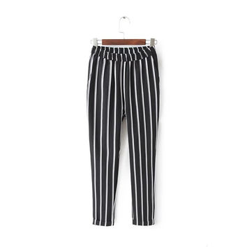 JN14 Fashion 2016 England Style Women Streetwear Black Striped Harm Pants Casual Zipper Pocket Stretch Brand Trousers