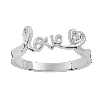 Silver Plate Crystal ''Love'' Ring (White)