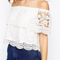 Glamorous Cutwork Lace Off The Shoulder Crop Top