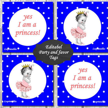 Editable-Baby princess Gift Tags Printables - Personalized - Blue Dots Gift Tag