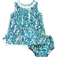 Infant Girl's Lilly Pulitzer 'Baby Lilly' Cotton Shift Dress & Bloomers,