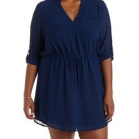 Plus Size Navy V-Neck Shirt Dress by Charlotte Russe