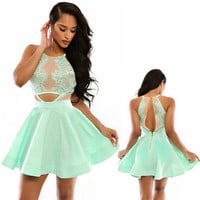 Green Cutout Lace Skater Dress