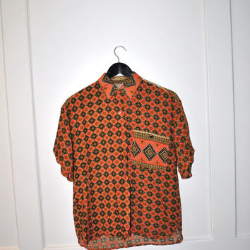 Ethnic print rayon shirt / 80s TRIBAL boho hipster ethnic button down collared Tshirt