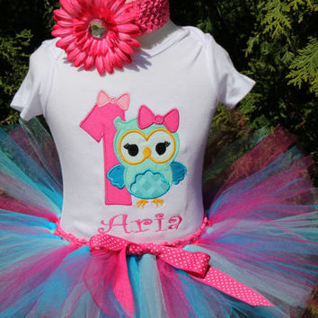 Baby Girl 1st Birthday Owl Personalized First 1st birthday tutu OUTFIT birthday embroidered monogram hot pink aqua blue OWL bow