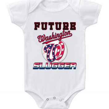 New Cute Funny Baby One Piece Bodysuit Baseball Future Slugger MLB Washington Nationals #3