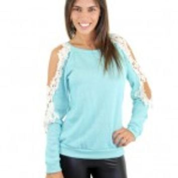 Blue Top With Crochet Open Shoulders
