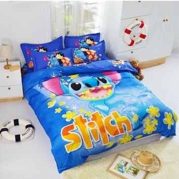 Home Textile Cartoon Minions Stitch Bedding Set 3-4pcs Bed Linen Duvet Cover Bed Sheet Pillowcase Twin Full Queen Free Shipping