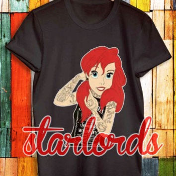 Ariel Disney Tattoo - Starlord - T Shirt Men S-5XL and T Shirt Women Size S-3XL Cotton