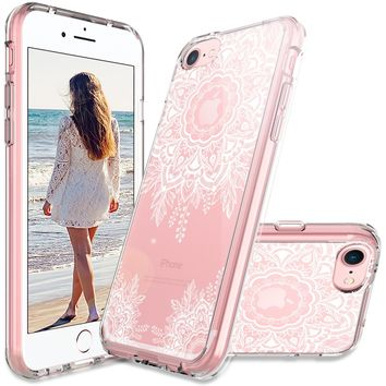 MASCHERI For Apple iPhone 7 / 8 Scratch Resistant [White Henna Mandala Floral Lace Design] TPU Bumper Clear Back Panel Hybrid Protective Case Cover for Apple iPhone 7 / 8 - Clear
