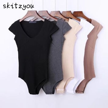 skitzyou Summer Sexy Short Sleeve Skinny Black Party Bodycon Bodysuit White V Neck Beach Rompers Womens Jumpsuit Gray Overalls