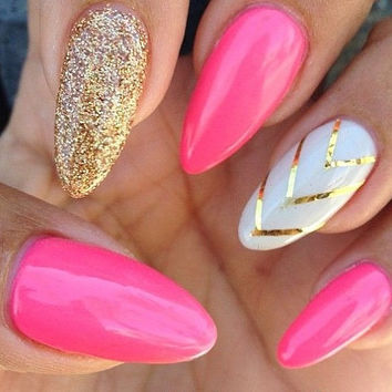 Pink and gold/silver stiletto square nails with white and gold/silver ring finger