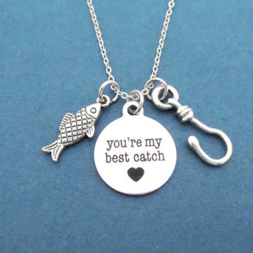 You're my best catch, Fish, Fishing, Hook, Heart, Necklace, Best, Catch, Love, Necklace, Valentine, Birthday, Friendship, Gift, Jewelry