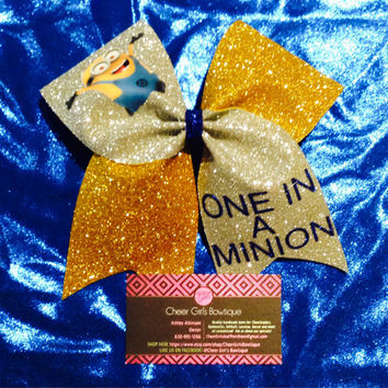Despicable Me One in a Minion Cheer Bow or Hair Bow