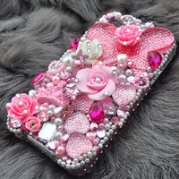 iphone 4 Case iphone 4s case PinkButterfly swarovski Rhinestone iphone case