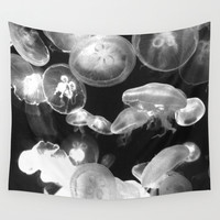 White Moon Jellyfish - Wall Tapestry