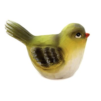 Animal SMALL TEXTURED BIRD Polyresin Wood Carved Look A3189 Green