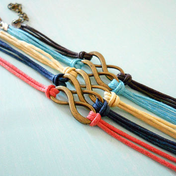 Clearance - Made to Order - Infinity Knotted Adjustable Bracelet in Colorful Cotton Cord - you pick ONE color