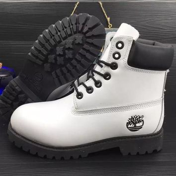 Timberland Rhubarb boots for men and women shoes waterproof Martin boots lovers White-black