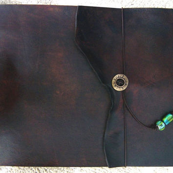 Large Refillable Leather Sketchbook - Warm Brown with Natural Edge