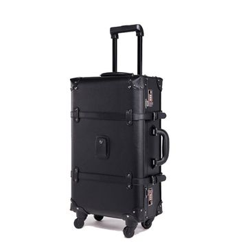 BeaSumore Retro Rolling Luggage Spinner Vintage Leather Suitcase Wheel Trolley Women Travel Bag Men Trunk Carry On Luggage