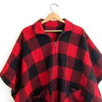 Vintage Red and Black Buffalo Check Flannel poncho cape