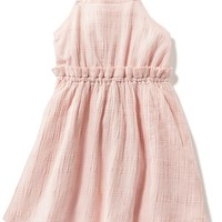 Textured Windwopane Gauze Halter Dress for Baby | Old Navy