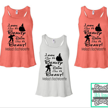 Look Like A Beauty Drink Like A Beast - Fairytale Bachelorette Party Tank Tops - Disney Inspired - Ladies Flowy Racerback Tank Top
