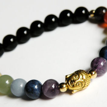 Buddha Chakra Bracelet with Natural Gemstones unisex gold stretch bracelet *FREE SHIPPING USA* 314.5B