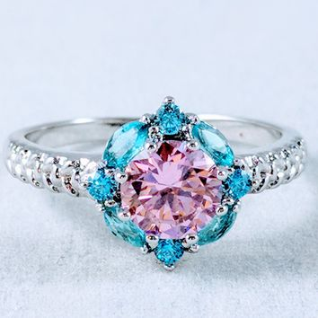 Gold White 14K Filled Natural Pink Topaz & Blue Sapphire Ring