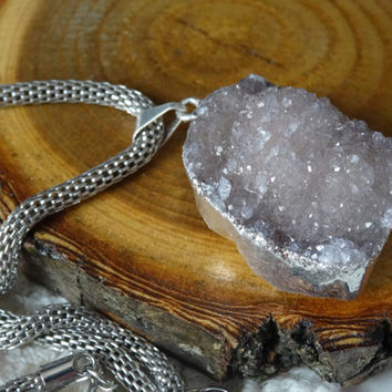 1- Brown Druzy Stone Necklace Silver Dipped Raw Gemstone Charm OOAK PeculiarCollective Finished Necklace