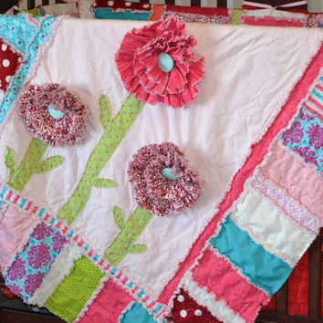 RAG QUILT, Ruffled Flower, Pink, Turquoise, Toddler Bedding and Crib Blanket, Made to Order, Custom