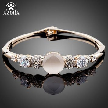 AZORA Sparkling Cubic Zirconia Cat's eye Bangle Bracelet TB0035